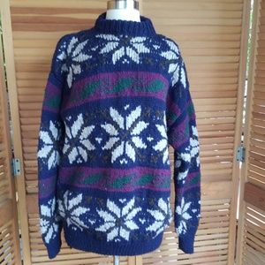 Oversized Chunky Wool Snowflake Sweater